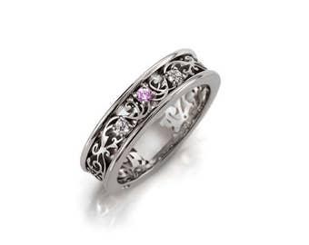 pink sapphire filigree ring, white gold, wedding band, Diamond ring,  sapphire wedding, filigree ring, pink wedding, pink engagement ring