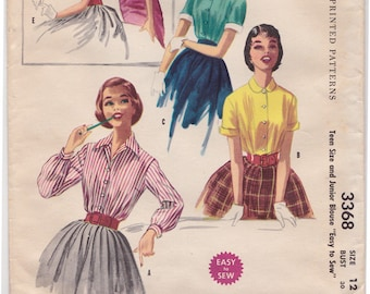 """McCall's 3368 -50s Teen Double Darted Blouse Vintage Sewing Pattern - Size 12, Bust 30"""", Partially Cut"""