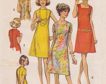 """FF 1970s Bust 36"""" Misses' A-Line Collarless Shift Dress Vintage Sewing Pattern [Simplicity 8882] Size 14, UNCUT"""