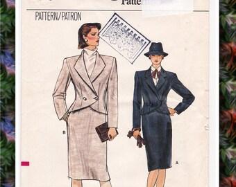 FF 1980s Vogue 8845 Womens Suit Pattern, Womens Power Suit Asymmetrical Jacket Sheath Skirt Vintage Sewing Pattern, Size 8, Bust 31, UNCUT