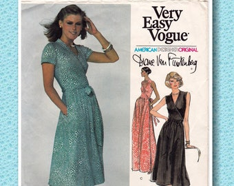 "1970s Vogue 1610 FRONT WRAP Dress American Designer Day or Evening Gown by Diane von Furstenberg Sewing Pattern, Size 12, Bust 34"", Cut"