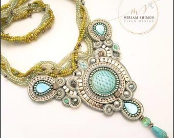 Light Blue and Green Soutache necklace