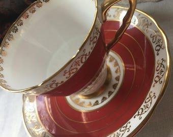 Gorgeous Red Orange Royal Stafford Teacup and Saucer Set made in England Fine English Bone China Ora ge English Travip and Saucer Set