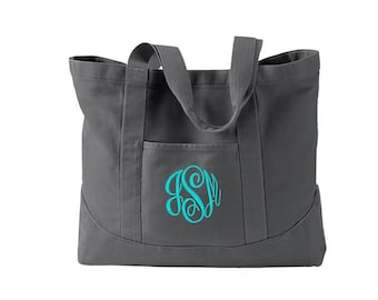 Monogram Tote Bag  -  Personalized Canvas Tote Bag  in 7 colors