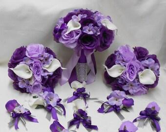 Wedding Silk Flower Bridal Bouquets Package Calla Lily Lavender Purple Eggplant Plum Lavender Bride Boutonnieres Corsages FREE SHIPPING