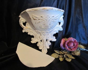 Shabby Chic Decor White Shelf/Wall Pocket Wall Decor~Distressed~Hand Painted~Cottage Chic~Homco~Romantic Home Decor~White Wall Decor