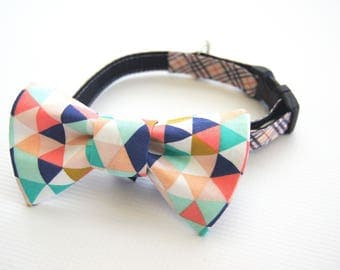 Coral and Mint Geometric Dog Bow Tie Collar Attachment