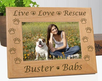 Pet Gift - Live Love Rescue Dog Picture Frame - Personalized with Names - Choice of 4x6 or 5x7 Photo Size