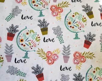 FABRIC-Botanical Fabric by the Yard-Floral Fabric-Flower Pot Fabric-Apparel Fabric-Home Decor Fabric-Fat Quarters-Craft Fabric