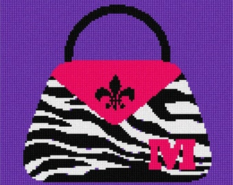 Needlepoint Kit or Canvas: Personalized Pocketbook Initial
