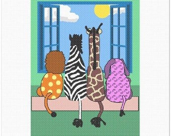 Needlepoint Kit or Canvas: Tails Window
