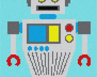 Needlepoint Kit or Canvas: Robot Two