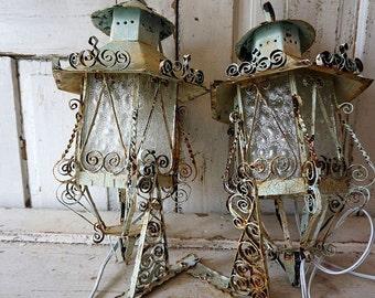 Ornate painted lanterns electric wall hanging lighting w/ original hooks shabby cottage chic blue white distressed rusty anita spero design