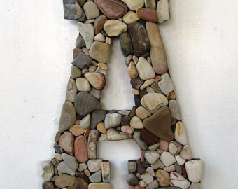 Custom Beach Rock Letters--Coastal Home Decor, Rustic Letters