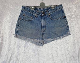 Womens DENIM LEVIS 535 Shorts Short Jeans Men's Denim Shorts Levi Strauss 535 High Waisted Shorts Denim Size 32 Nr. 05