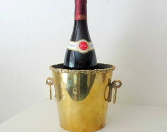 Vintage Brass Wine Cooler / Ice Bucket / Champagne Bucket, Two Ring Handles, Made In Mexico by A. Lara, Heavy 2 lbs., Mid Century