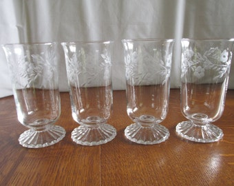 Vintage Set of Etched Water Goblets