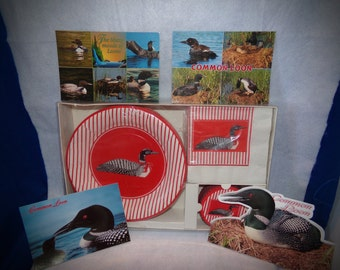 Vintage Loon Collection Paper Plates,Coasters and Napkins,Spectacular Loon Postcards and Plates.Vintage Loon Collectibles,Goron Fraser .