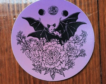"bats in love // 4"" round vinyl sticker"