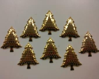 8 gold-plated Christmas Tree Charms Pendants