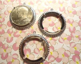 3 Silverplated Kennedy Half Dollar Coin Holder Bezel Pendants