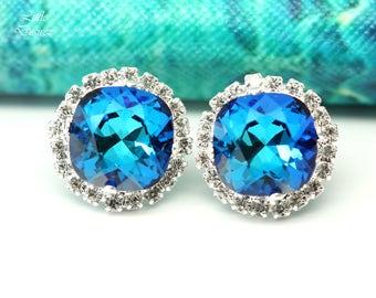 Swarovski Blue Stud Earrings Bridal Earrings Bridesmaid Earrings Blue Green Teal Earrings Bermuda Blue Earrings Handmade Gift for Her BB50S
