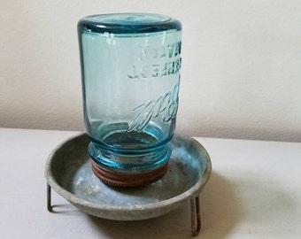 Vintage Chicken Feeder With Vintage Blue Ball Glass Mason Jar