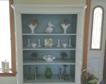 Painted Wood China Cabinet Hutch  Bookcase with doors Off white and blue PICK UP ONLY