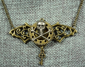 Steampunk Bat with gear and skull