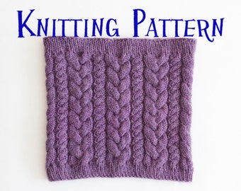 PDF Knitting Pattern - Hilltop Cowl, Scarf Knitting Pattern, Knit Snood Instructions, DIY Knit Cabled Cowl