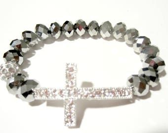 Silver Cross. Cross Bracelet. Sideways Cross. Cross Bangle. Faith Bracelet.