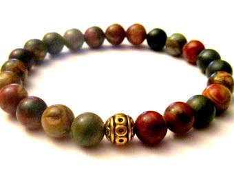 Jasper Yoga Bracelet. Meditation Beads. Stackable Bracelets. Yoga Gift. Reiki Bracelet. Yoga Jewelry. Gemstone Bracelet. Beaded Bracelet.