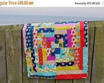 Spring Quilt Sale Patchwork Lap Quilt or Sofa Throw Minky Backed Cotton + Steel Fabrics