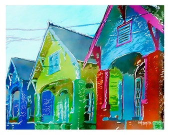 Colorful Houses New Orleans Glicee Print 8x10 11x14 - Three NOLA Bungalows - Korpita