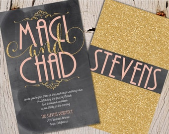 Chalkboard Wedding Invitations, Pink and Gold Wedding Invitations, Gold and Chalkboard Wedding Invitations, Pink and Gold
