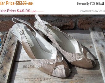 SALE 80s NOS (unworn) leather sling backs , Peter Kaiser made in Germany. fawn,metalic ,.US size 7