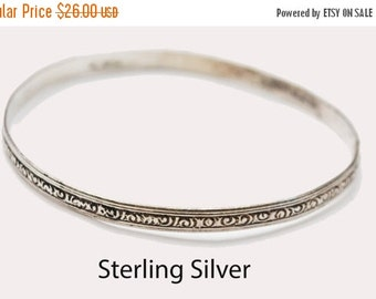 sterling silver Bangle -  Etched  scroll design - Large bracelet - signed Sterling