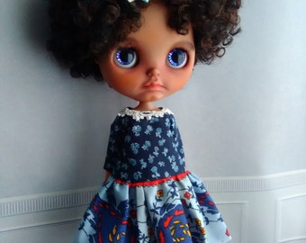 Blythe Dress + Hair Bow By Blythe in Wonderland,  Special Outfit One hand made  for blythe or similar dolls