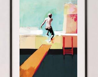 Swimming Pool - Art Print  / Summer Day / Mixed Media Wall Art / Collage Art - Swimming Pool Art Print /  Blue Print