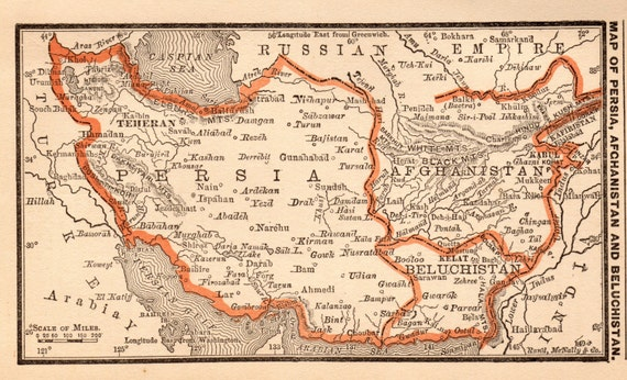 1888 Uncommon AFGHANISTAN Map Persia Map Iraq Map by plaindealing – Map of Iraq and Afghanistan