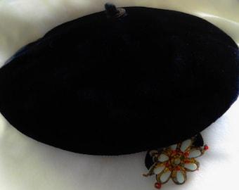 Black velvet Pill Box Hat with beaded flower FREE SHIPPING!!
