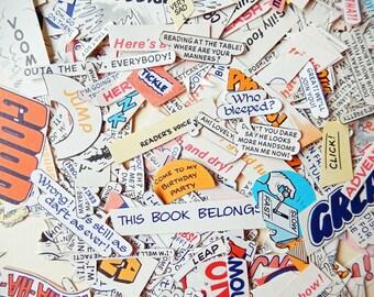 50 Comic Book  Captions , Lucky Dip, Original vintage clippings,  scrapbooking,  smash books, embellishments, journals