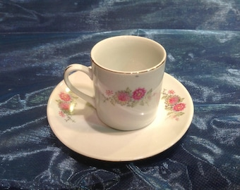 Beautiful tiny espresso cup and saucer with Pink Blossoms