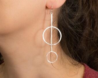 Silver Drop Earrings - Sterling Silver Statement Earrings - Dangle Earrings - Hammered Silver Earrings- Modern Minimalist Geometric Earrings