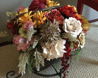Gorgeous Vintage Multi Colored Floral Arrangement in Basket