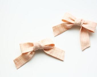 Blush Plaid Hair Bows  - Valentines Day Hair Accessory - Hair Clip - Hair Bow