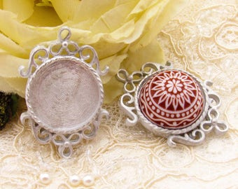 Cast Pewter Filigree 18mm Round Bezel Tray Setting Connector Silver Tone Pendant – 1