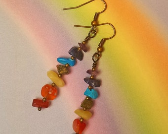 Gemstone Nuggets, 7 Chakra Earrings, Choice of Silver or Bronze, Pierced Ear Wires, Reiki, Gypsy, Zen, Yoga