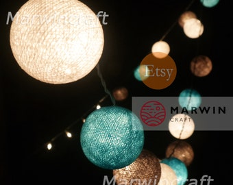20 Cotton Balls Beach Cottage Fairy String Lights Party Patio Wedding Floor Table or Hanging Gift Home Decor Living Bedroom Holiday