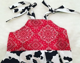 Halter top,western, cow, bandana, top, boutique, size NB, 3,6,9,12,18,24,2T, 3T, 4T,5